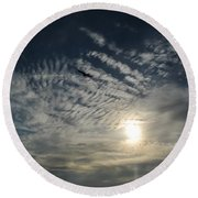 005 When Feeling Down  Pick Your Head Up To The Skies Series Round Beach Towel
