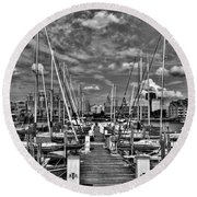 005bw On A Summers Day  Erie Basin Marina Summer Series Round Beach Towel