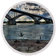 006 Peace Bridge Series II Beautiful Skies Round Beach Towel