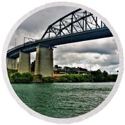 006 Stormy Skies Peace Bridge Series Round Beach Towel