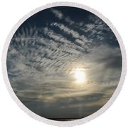006 When Feeling Down  Pick Your Head Up To The Skies Series Round Beach Towel