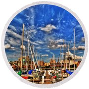 007 On A Summers Day  Erie Basin Marina Summer Series Round Beach Towel