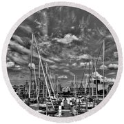 007bw On A Summers Day  Erie Basin Marina Summer Series Round Beach Towel