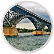 008 Stormy Skies Peace Bridge Series Round Beach Towel