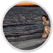 009 A Sunset With Eyes That Smile Soothing Sounds Of Waves For Miles Portrait Series Round Beach Towel