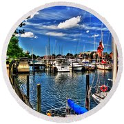 009 On A Summers Day  Erie Basin Marina Summer Series Round Beach Towel