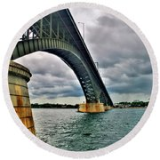 009 Stormy Skies Peace Bridge Series Round Beach Towel