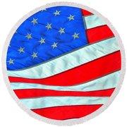 01 American Flag Round Beach Towel
