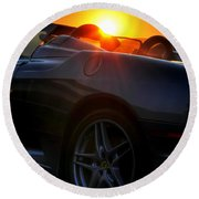 01 Ferrari Sunset Round Beach Towel