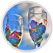 01 Love Is In The Air Round Beach Towel