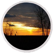 01 Sunset Round Beach Towel
