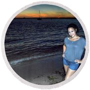 010 A Sunset With Eyes That Smile Soothing Sounds Of Waves For Miles Portrait Series Round Beach Towel
