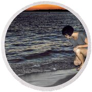 011 A Sunset With Eyes That Smile Soothing Sounds Of Waves For Miles Portrait Series Round Beach Towel