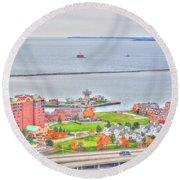 013 Series Of Buffalo Ny Via Birds Eye Erie Basin Marina Round Beach Towel