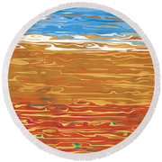 0145 Abstract Landscape Round Beach Towel