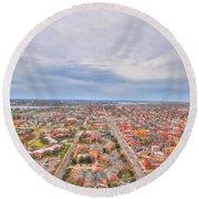 040 Series Of Buffalo Ny Via Birds Eye West Side  Round Beach Towel