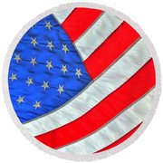 05 American Flag Round Beach Towel