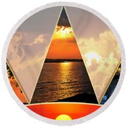 0a Relaxing Sunsets Collage Round Beach Towel