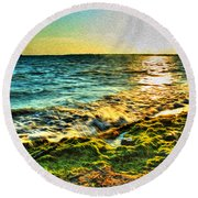 00013 Windy Waves Sunset Rays Round Beach Towel