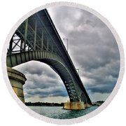 009 Stormy Skies Peace Bridge Series Round Beach Towel