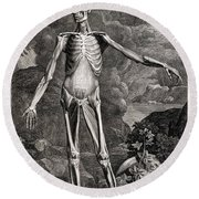 18th Century Anatomical Engraving Round Beach Towel