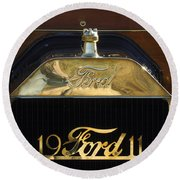 1911 Ford Model T Torpedo Hood Ornament Round Beach Towel by Jill Reger