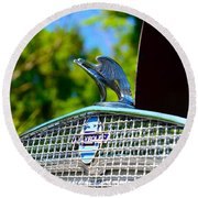 1931 Chevrolet Ae Independence Hood Ornament Round Beach Towel by Paul Ward