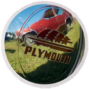 1947 Plymouth Coupe Hubcap Round Beach Towel