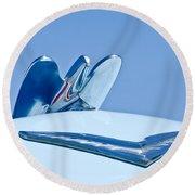 1954 Chrysler New Yorker Deluxe Hood Ornament Round Beach Towel