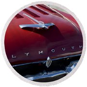1956 Plymouth Hood Ornament Round Beach Towel