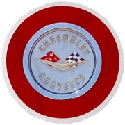 1958 Chevrolet Corvette Emblem Round Beach Towel