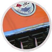 1958 Chevrolet Corvette Hood Emblem Round Beach Towel
