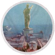 7 Wonders Of The World, Colossus Round Beach Towel by Photo Researchers