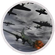 A B-17 Flying Fortress Is Set Ablaze Round Beach Towel