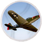 A Bell P-63 Kingcobra In Flight Round Beach Towel