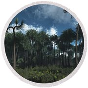 A Carboniferous Forest Of Midwestern Round Beach Towel