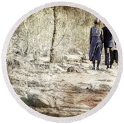 A Couple In The Woods Round Beach Towel by Joana Kruse