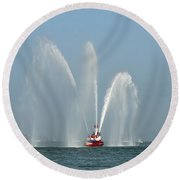 A Fire Boat Round Beach Towel