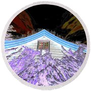 A Flowery House In Norway Round Beach Towel