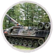 A Leopard 1a5 Mbt Of The Belgian Army Round Beach Towel by Luc De Jaeger