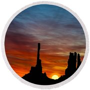 A New Day At The Totem Poles Round Beach Towel