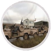 A Pink Panther Land Rover Round Beach Towel