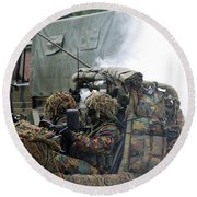 A Recce Or Scout Team Of The Belgian Round Beach Towel by Luc De Jaeger