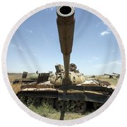 A Russian T-55 Main Battle Tank Round Beach Towel