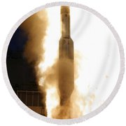 A Standard Missile 3 Is Launched Round Beach Towel
