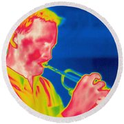 A Thermogram Of A Musician Playing Round Beach Towel