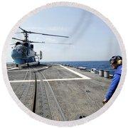 A Ukrainian Navy Ka-27 Helix Helicopter Round Beach Towel