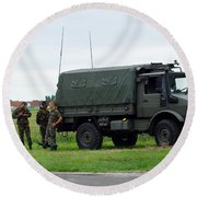 A Unimog Vehicle Of The Belgian Army Round Beach Towel