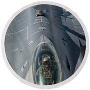 A U.s. Air Force F-16c Fighting Falcon Round Beach Towel by Giovanni Colla