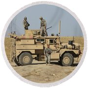 A U.s. Army Cougar Mrap Vehicle Round Beach Towel